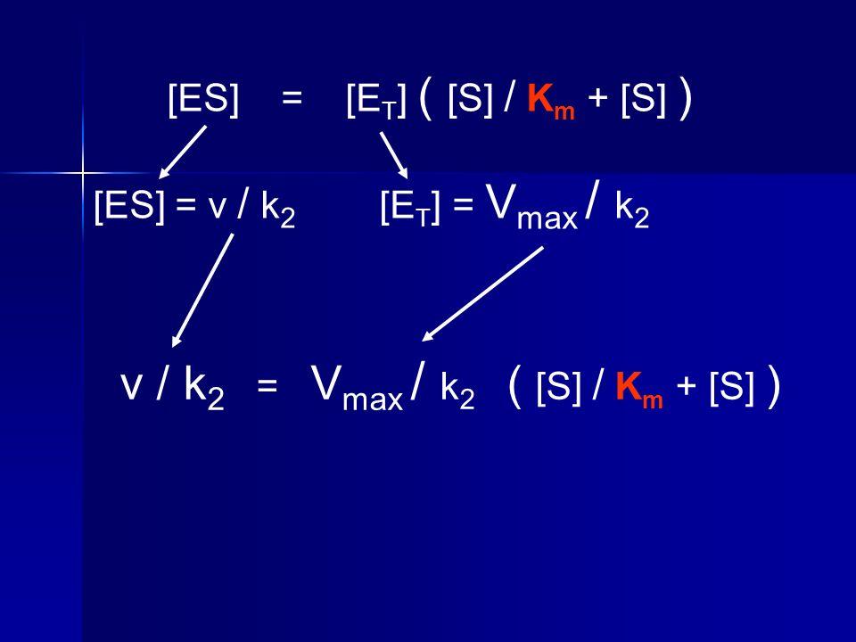 v / k2 = Vmax / k2 ( [S] / Km + [S] )